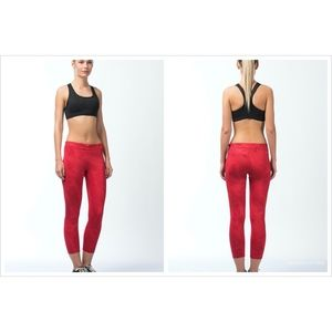 Nike Dri-Fit Red Essential Crop Leggings Women's L